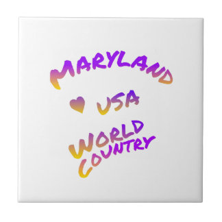 Maryland world country, colorful text art tile