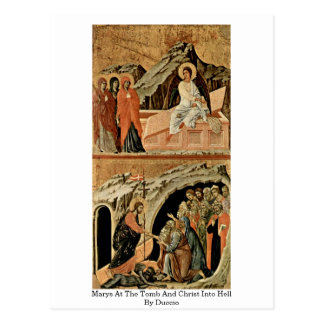 Marys At The Tomb And Christ Into Hell By Duccio Postcard