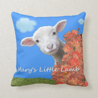 Mary's Little Lamb. Throw Pillow