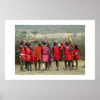 MASAI WARRIORS IN KENYA AFRICA POSTER