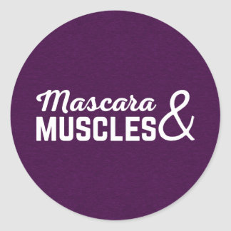 Mascara & Muscles Gym Quote Classic Round Sticker