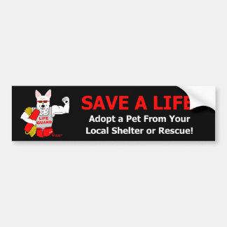 "Mascot Jake Says, ""Save A Life."" Bumper Sticker"
