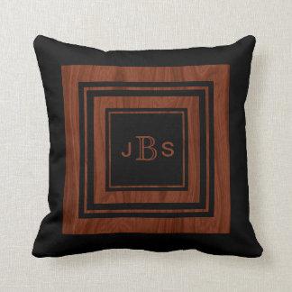 Masculine 3 Monogram | Rustic Wood Mahogany Black Throw Pillow