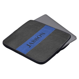 Masculine Black And Blue Faux Leather Laptop Sleeve