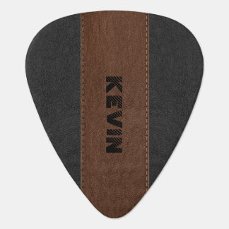 Masculine Black & Brown Stitched Leather Texture Guitar Pick
