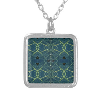 Masculine Blue Linear Pattern Silver Plated Necklace