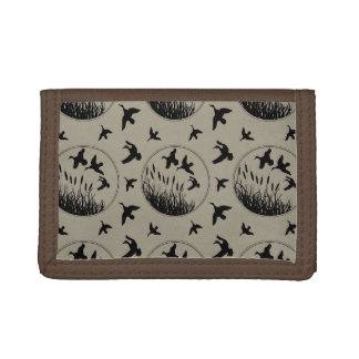 Masculine Brown Black Ducks Flying Duck Hunter Trifold Wallets