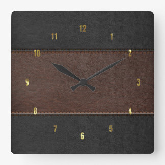 Masculine Brown & Black Stitched Leather Texture Square Wall Clock