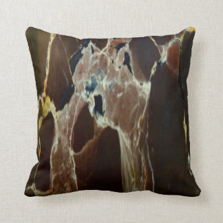 Masculine Brown Marbling Pattern Throw Pillow