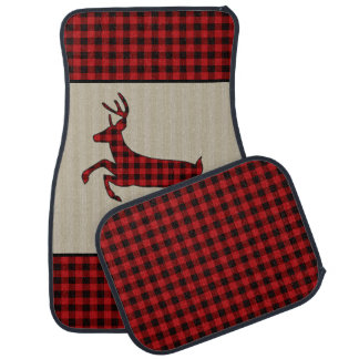 Masculine Buffalo Plaid Stag Car Mat Set