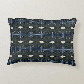 Masculine Charcoal Gray Blue Tribal Pattern Accent Pillow
