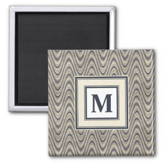 Masculine Chevron Wave Pattern in Blue and Beige Square Magnet