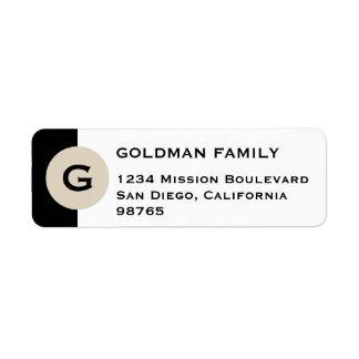 Masculine circle monogram black return address return address label