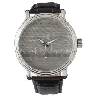 masculine clock with modern art wrist watch
