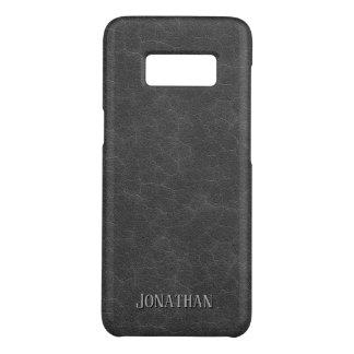 Masculine Dark Gray Leather Look Monogram Case-Mate Samsung Galaxy S8 Case