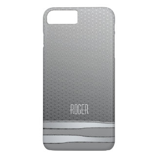 Masculine Faux Metal Look Silver Grey Stripes iPhone 8 Plus/7 Plus Case