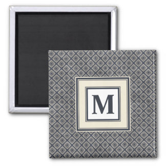 Masculine Geometric Squares Pattern Blue and Beige Square Magnet