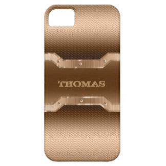 Masculine Gold And Light Brown Brushed Metal Look Case For The iPhone 5