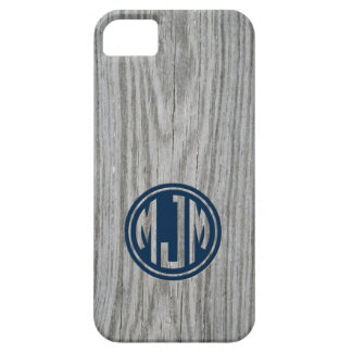 Masculine Gray Barn Wood Custom Circle Monogram iPhone 5 Cases