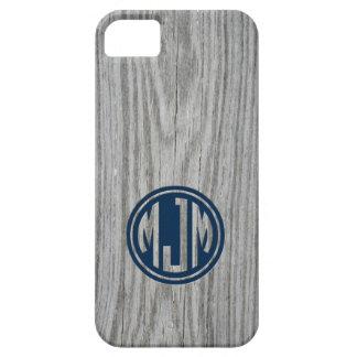 Masculine Gray Barn Wood Custom Circle Monogram iPhone 5 Cover