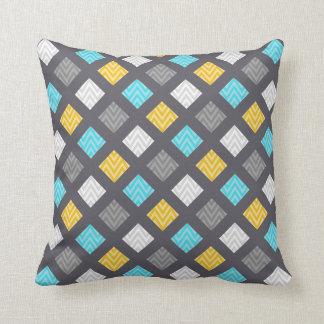 Masculine Gray Blue Yellow Geometric Pattern Throw Pillow