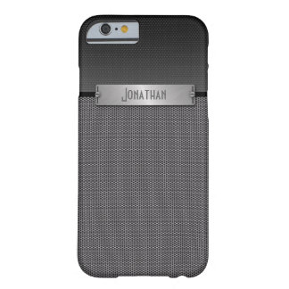 Masculine Gray Metal Chain Look Monogram Barely There iPhone 6 Case