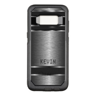Masculine Gray Metallic Modern Geometric Design OtterBox Commuter Samsung Galaxy S8 Case
