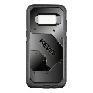 Masculine Gray Metallic Texture Geometric Design OtterBox Commuter Samsung Galaxy S8 Case