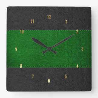 Masculine Green & Black Stitched Leather Texture Square Wall Clock