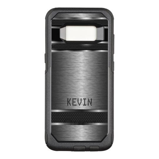 Masculine Grey Metallic Modern Geometric Design OtterBox Commuter Samsung Galaxy S8 Case