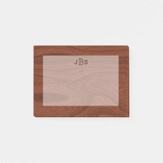 Masculine Initials Monogram | Mahogany Wood Look Post-it® Notes