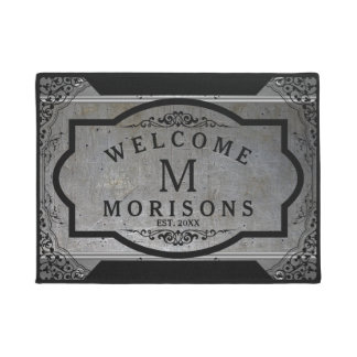 Masculine Metallic Gray With Touch Of Black Swirls Doormat