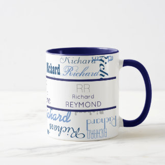 masculine modern typography name pattern on blue mug