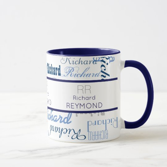 masculine modern typography name pattern on blue mug