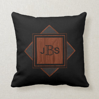 Masculine Monogram | Black Leather Wood Look Throw Pillow