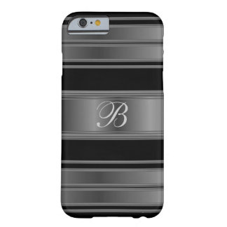Masculine Monogram Black Metallic Steel Barely There iPhone 6 Case