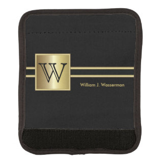 Masculine Monogram Executive Style - Black & Gold Luggage Handle Wrap