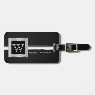Masculine Monogram Executive Style - Black Leather Luggage Tag