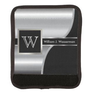 Masculine Monogram Executive Style -Black & Silver Luggage Handle Wrap