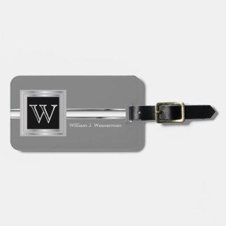 Masculine Monogram Executive Style - Silver Gray Bag Tag