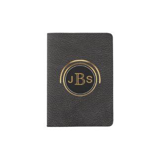 Masculine Monogram Initials   Black & Gold Leather Passport Holder