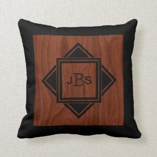 Masculine Monogram | Luxury Mahogany Wood Look Throw Pillow