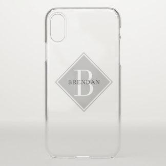 Masculine Monogram Simple Smoke Gray Overlay iPhone X Case