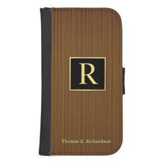 Masculine Monogram Wood Galaxy S4 Wallet Case