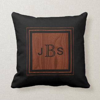 Masculine Monogram | Woodgrain Mahogany Look Black Throw Pillow