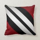 Masculine  Red Black Grey Stripes Design Throw Pillow
