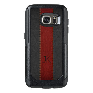 Masculine Red & Black Vintage Leather OtterBox Samsung Galaxy S7 Case
