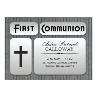 Masculine Silver Gray Pinstripes First Communion Card