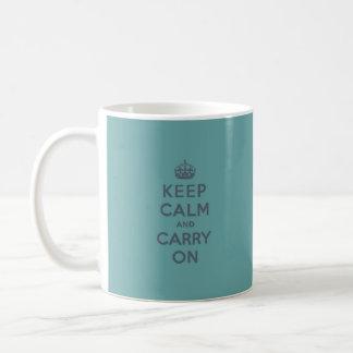 Masculine Teal Keep Calm and Carry On Coffee Mug