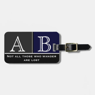 Masculine Travel Monogrammed Blue Luggage Tag